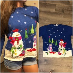 Urban Outfitters Ugly Christmas Sweater.Ugly Christmas Sweater Snowmen